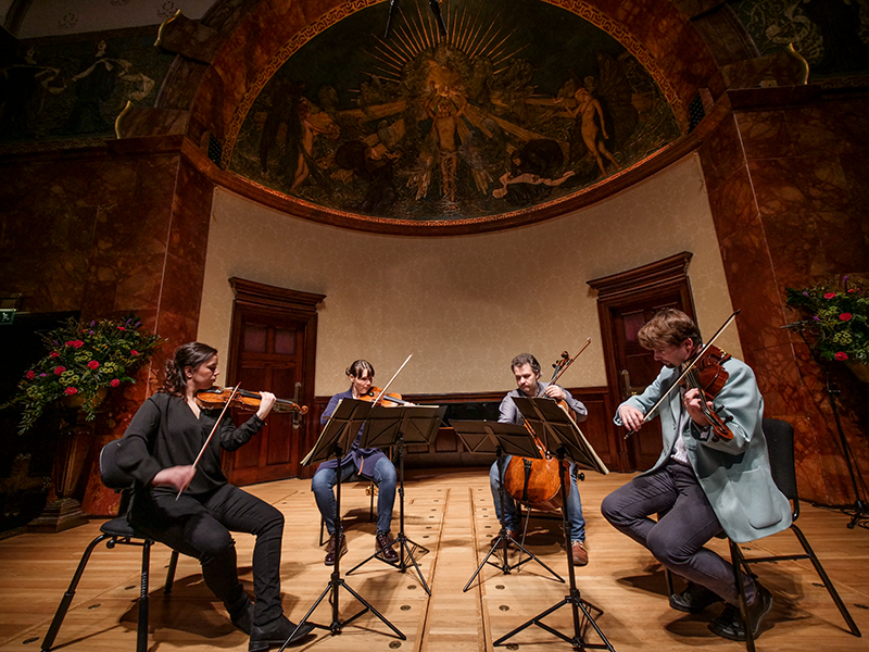 Skampa Quartet rehearsing at The Wigmore Hall, London